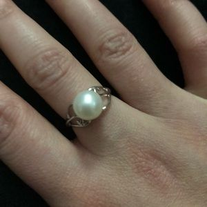 Dainty white pearl and silver ring